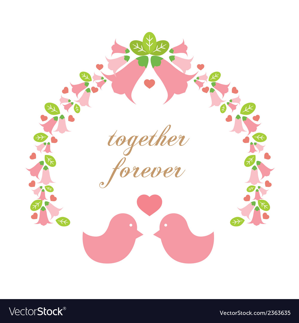 Love birds with a wreath vector | Price: 1 Credit (USD $1)