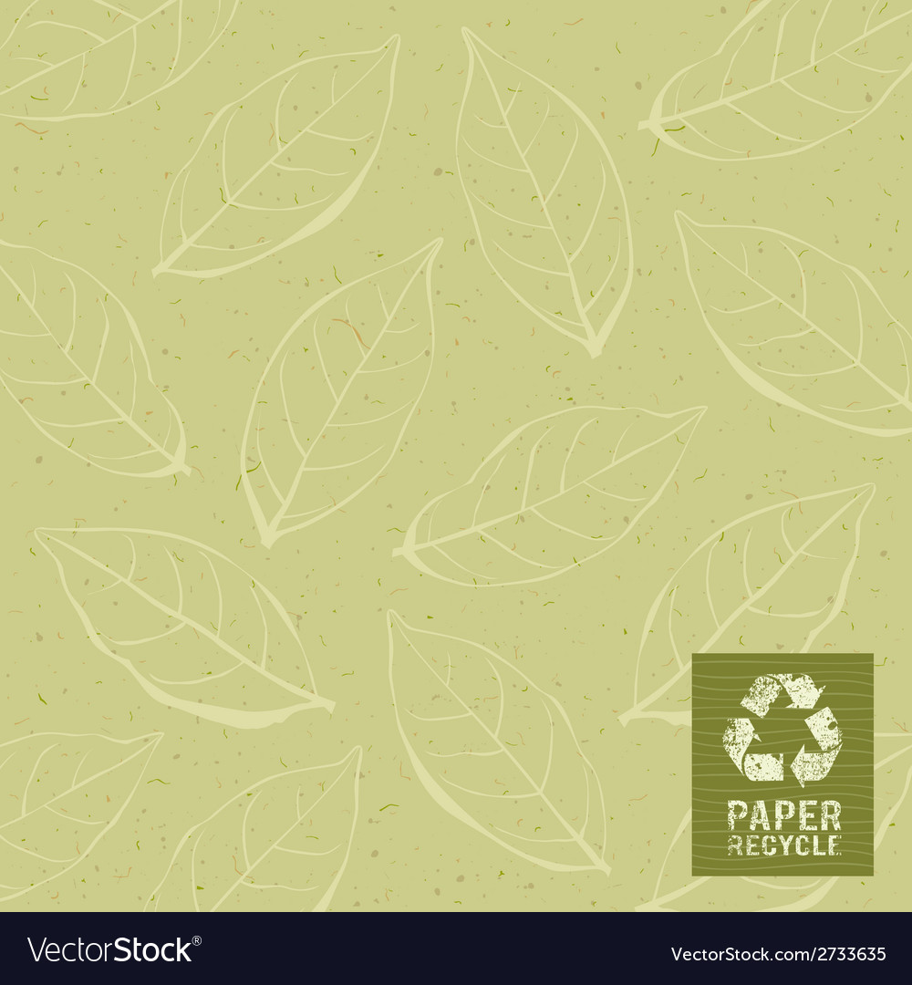 Paper recycle on leaf design background vector | Price: 1 Credit (USD $1)
