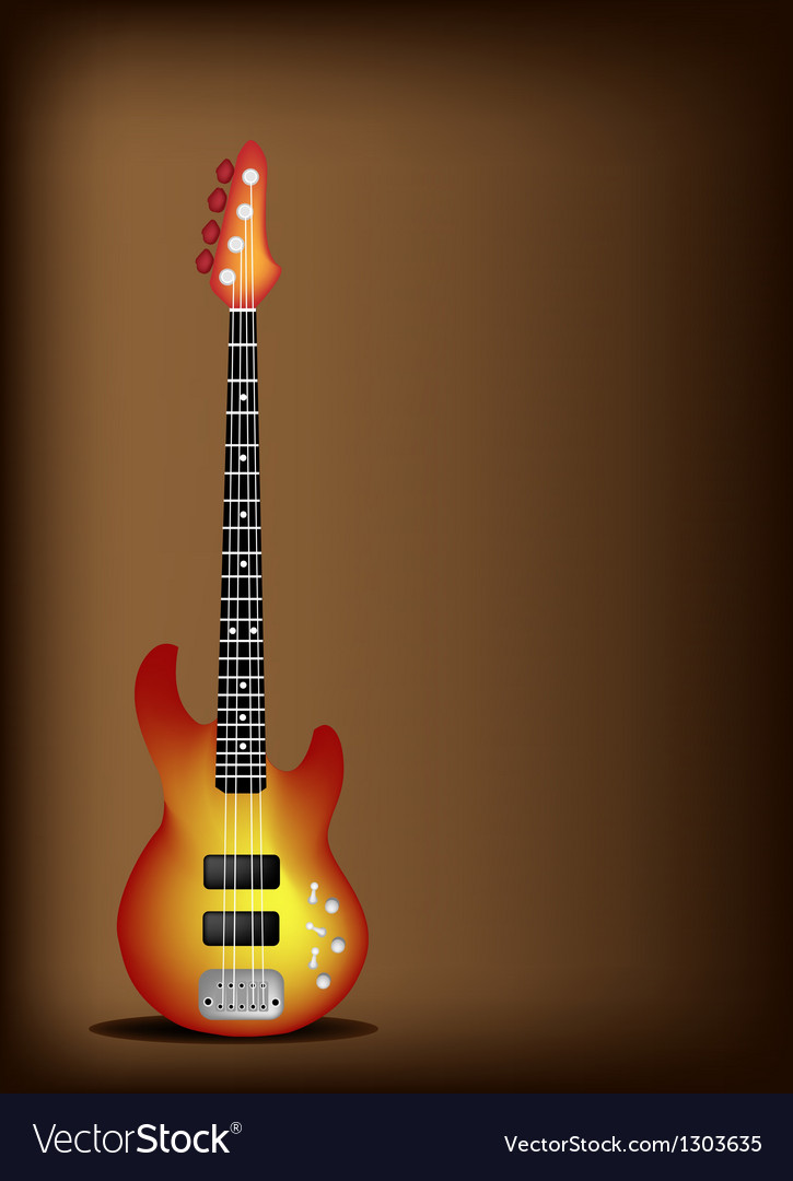 Red electric guitar on dark brown background vector | Price: 1 Credit (USD $1)
