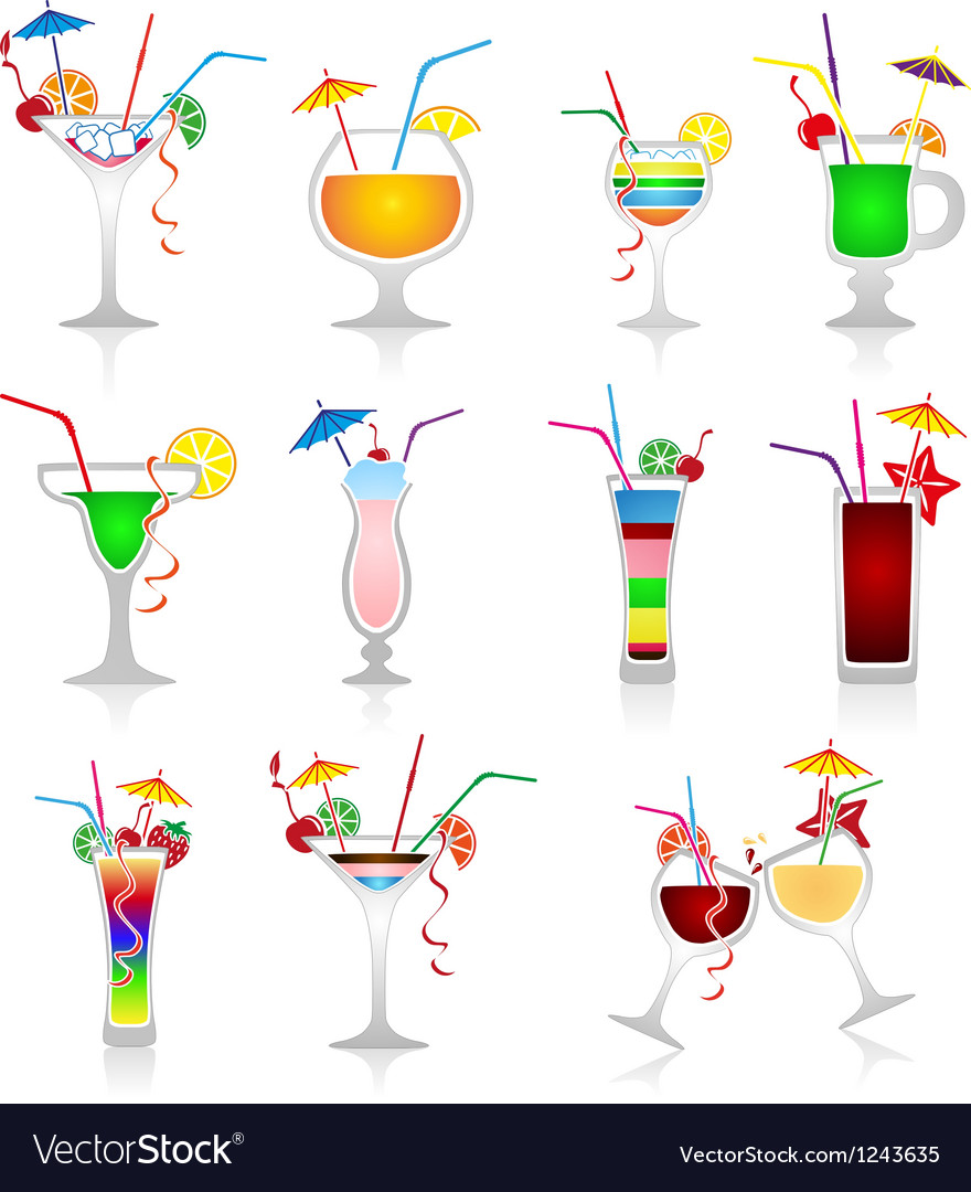 Set of cocktails on white background vector | Price: 1 Credit (USD $1)