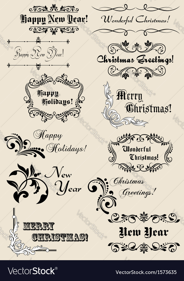 Winter holidays calligraphic elements vector   Price: 1 Credit (USD $1)