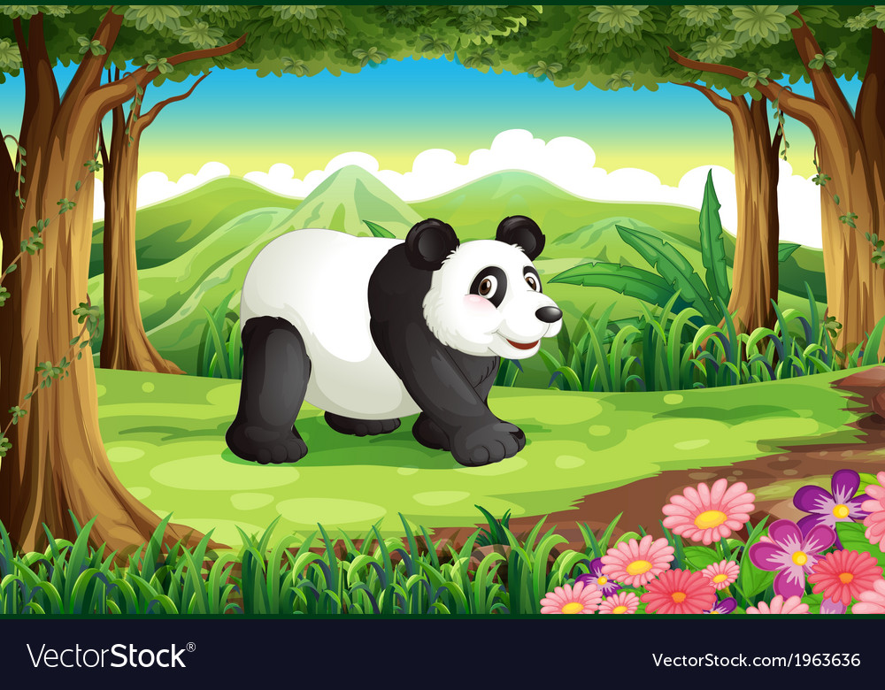 A big panda bear at the forest vector | Price: 3 Credit (USD $3)
