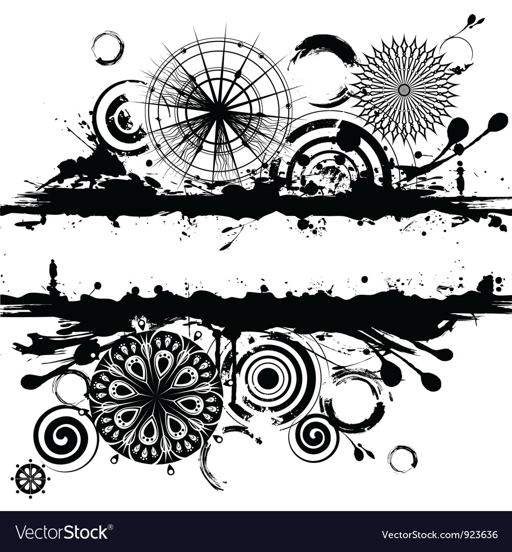 Black and white circles abstract vector | Price: 1 Credit (USD $1)