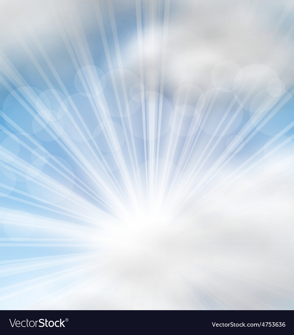 Cloudscape background with sun rays vector | Price: 1 Credit (USD $1)