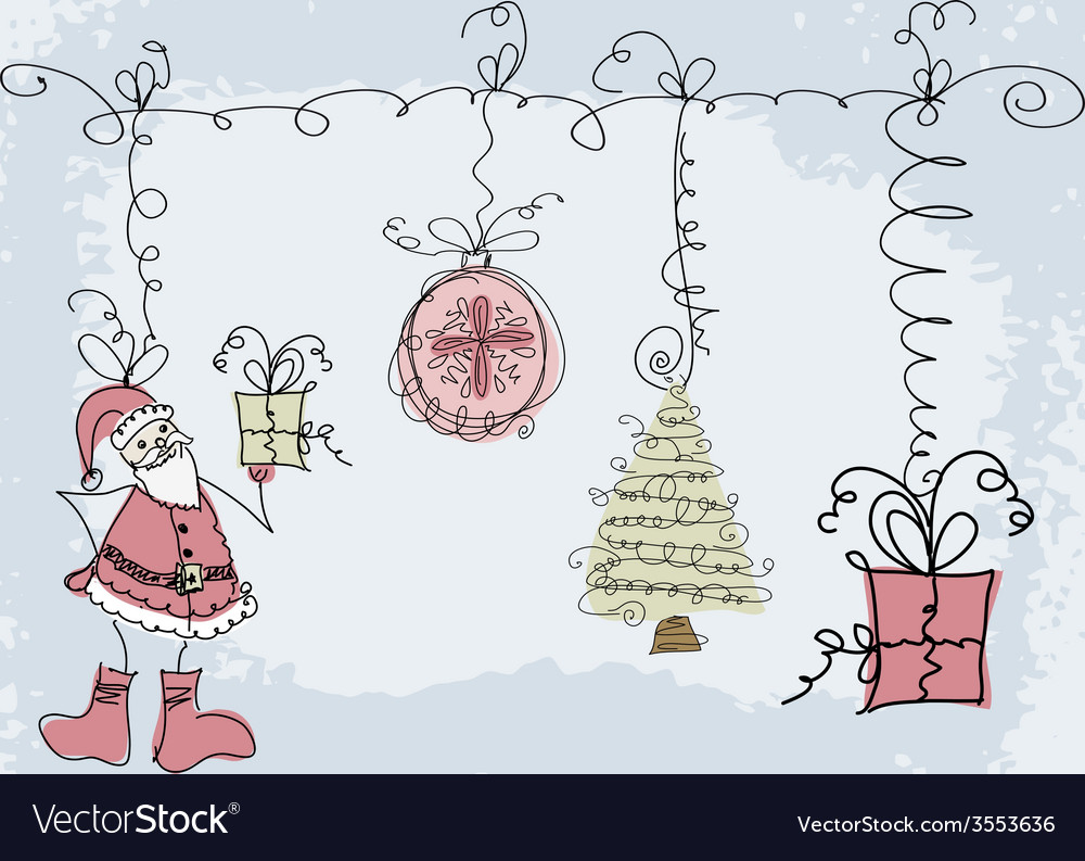 Hand-drawn christmas doodle sketch object vector