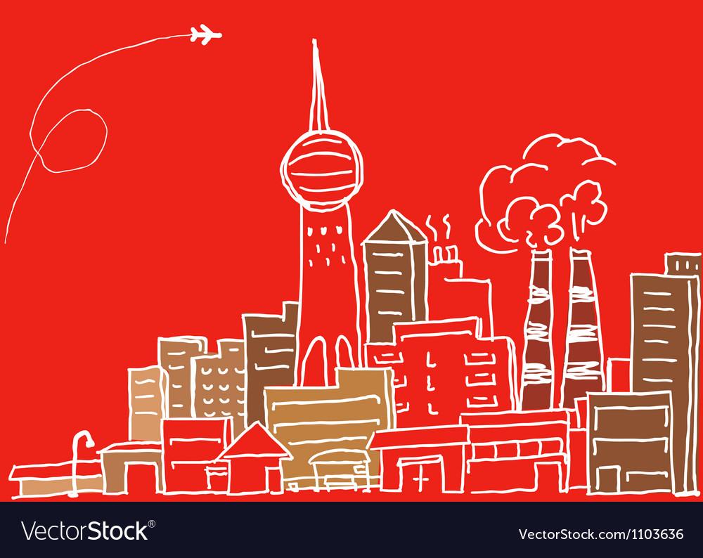 Hand-drawn modern city sketch vector | Price: 1 Credit (USD $1)