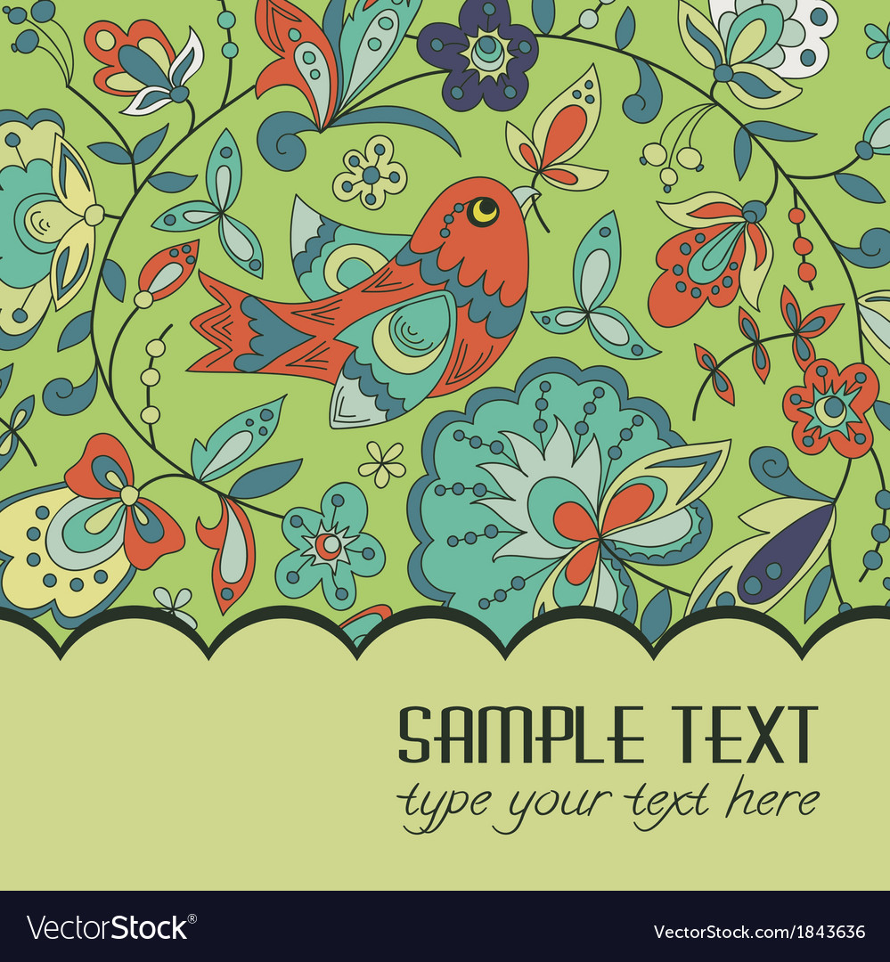 Postcard for text with a bird vector | Price: 1 Credit (USD $1)