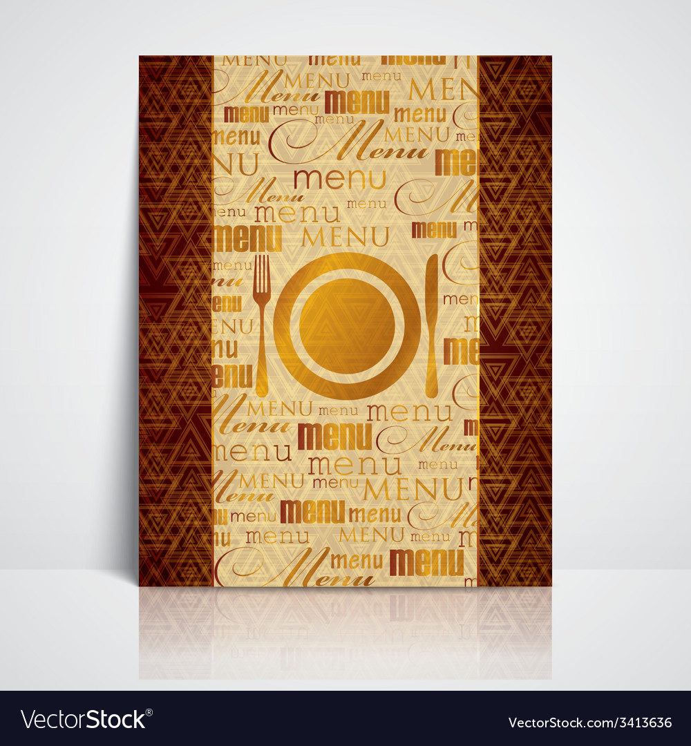 Restaurant menu design with plate fork and knife vector | Price: 1 Credit (USD $1)