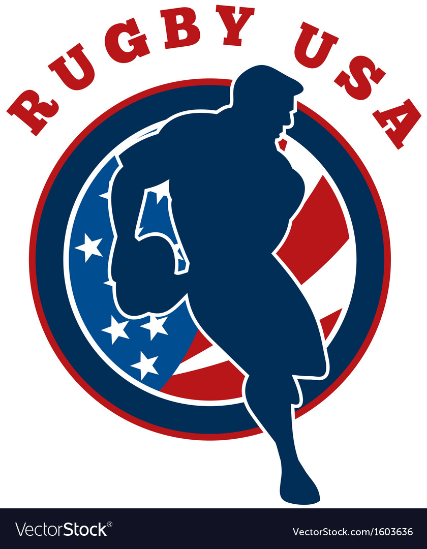 Rugby player flag united states of america vector   Price: 1 Credit (USD $1)