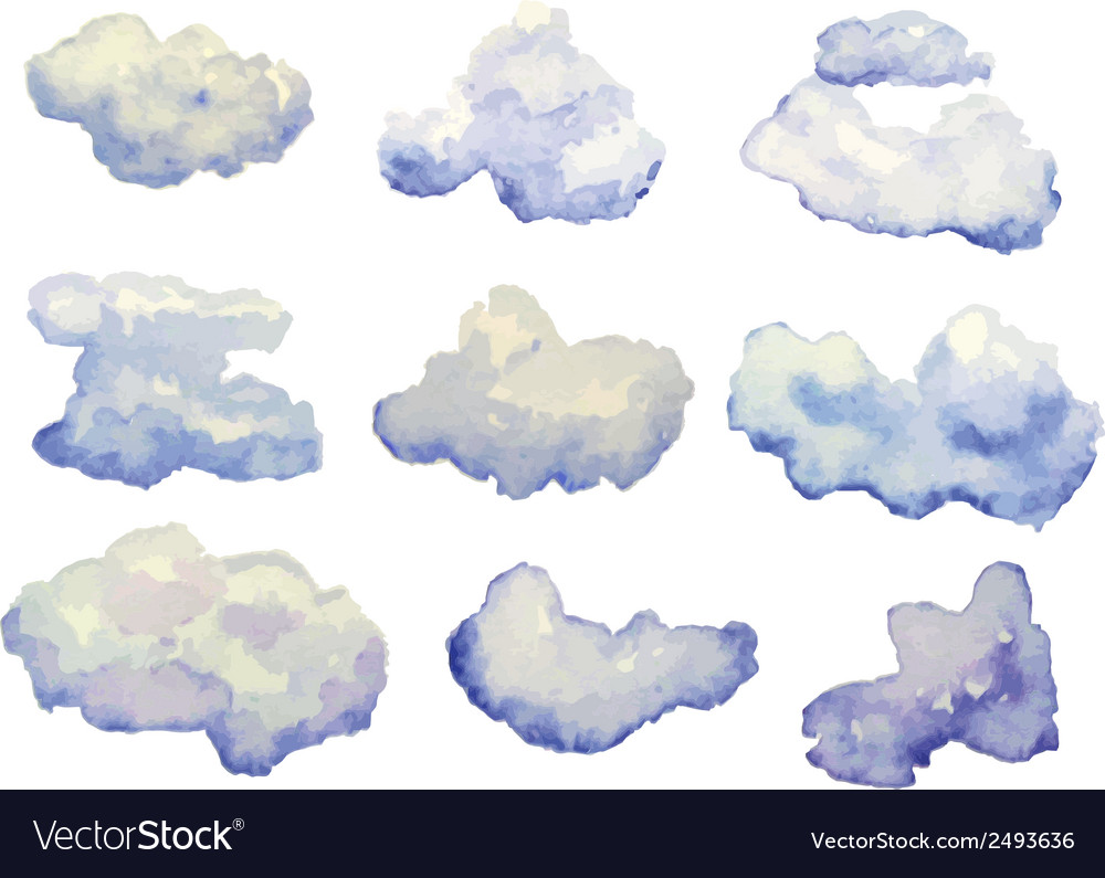 Set of watercolor clouds isolated on white vector | Price: 1 Credit (USD $1)