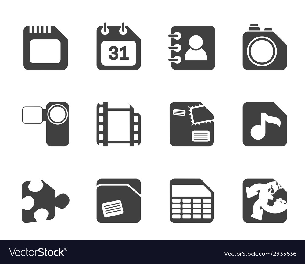 Silhouette mobile phone and internet icons vector | Price: 1 Credit (USD $1)