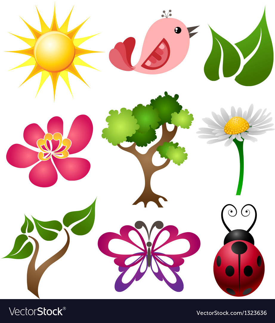 Spring symbol set vector | Price: 3 Credit (USD $3)