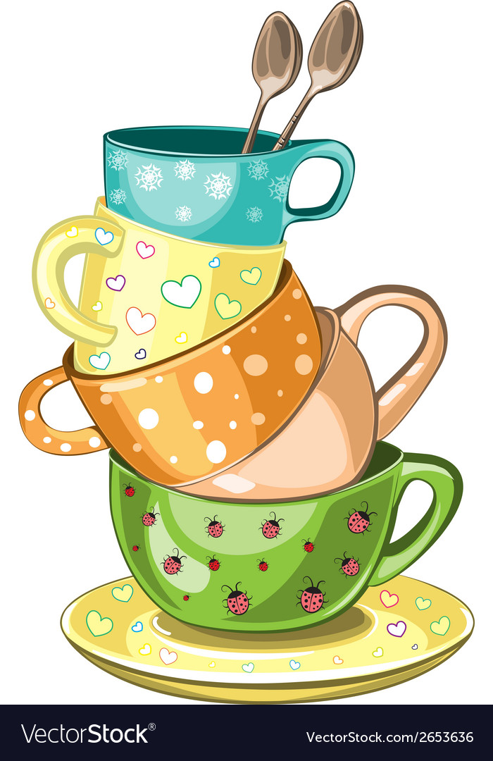 Stacked tea cups vector | Price: 1 Credit (USD $1)