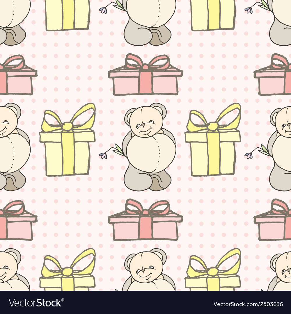 Teddy bear seamless pattern vector | Price: 1 Credit (USD $1)