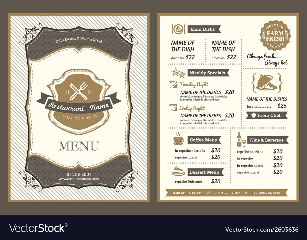 Vintage frame restaurant menu design vector | Price: 1 Credit (USD $1)