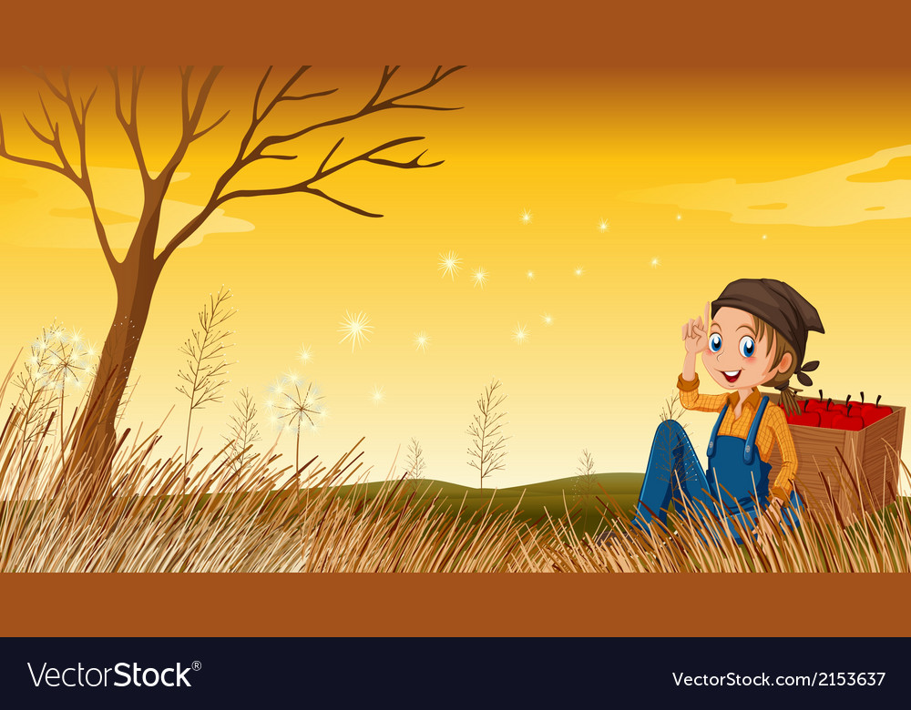 A young boy above the hill resting vector | Price: 3 Credit (USD $3)