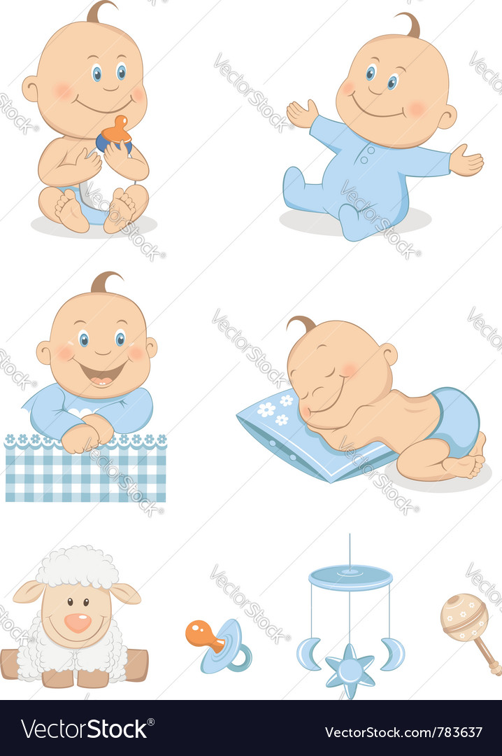 Baby boy with toys vector | Price: 3 Credit (USD $3)