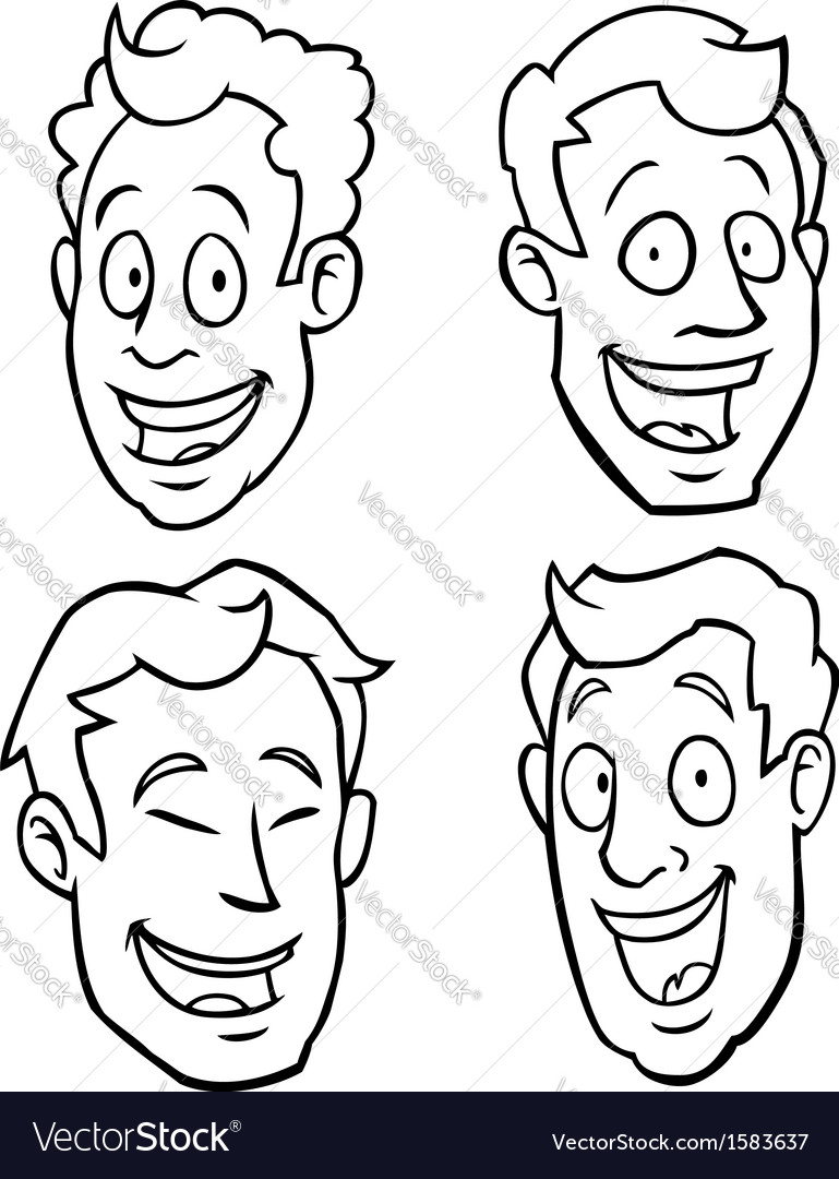Black and white male cartoon faces vector | Price: 1 Credit (USD $1)