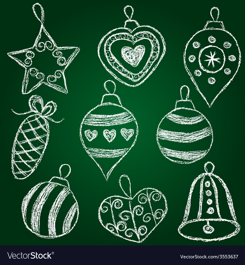 Christmas decorations - chalk on schoolboard vector | Price: 1 Credit (USD $1)