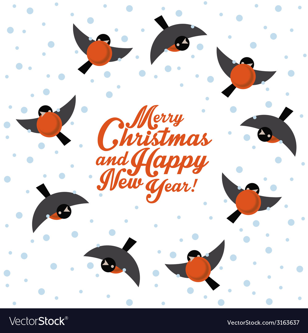Christmas round dance bullfinches vector | Price: 1 Credit (USD $1)