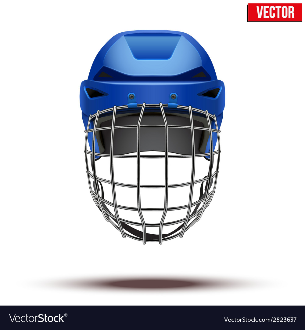 Classic blue goalkeeper ice hockey helmet isolated vector | Price: 1 Credit (USD $1)