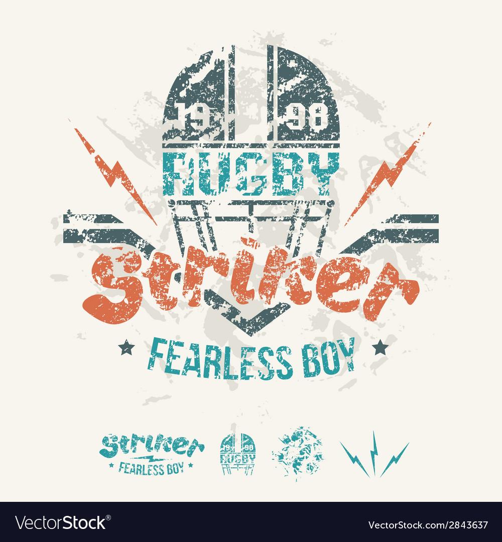 College team rugby retro emblem vector | Price: 1 Credit (USD $1)
