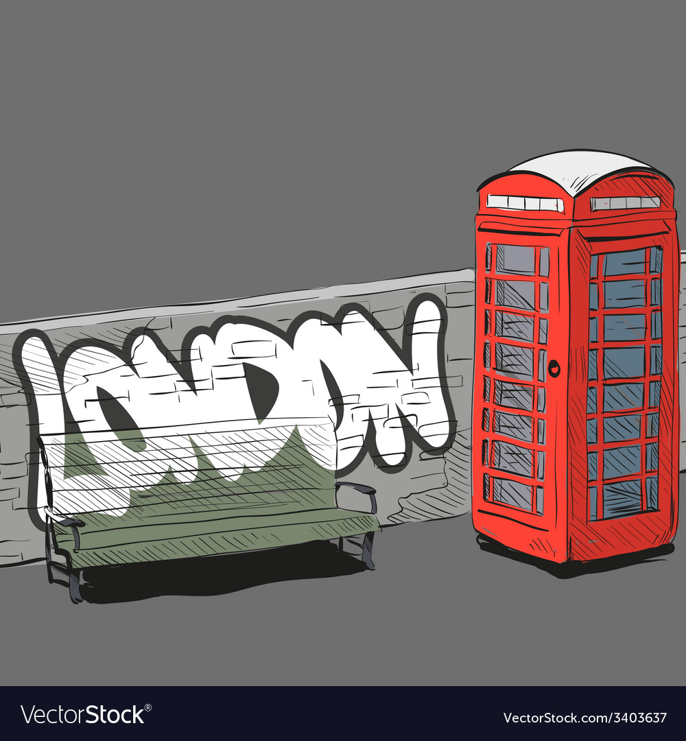 Drawing red english phone booth vector | Price: 1 Credit (USD $1)