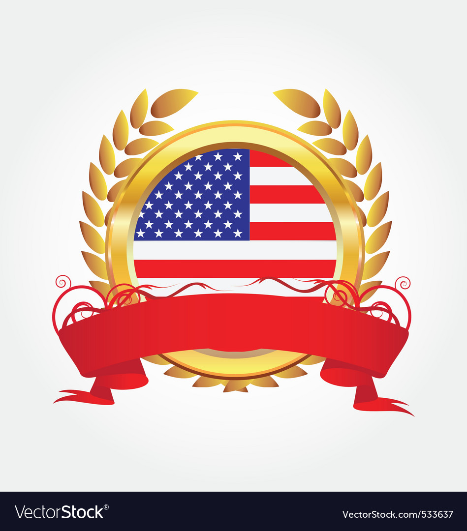 Gold award with american flag vector | Price: 1 Credit (USD $1)