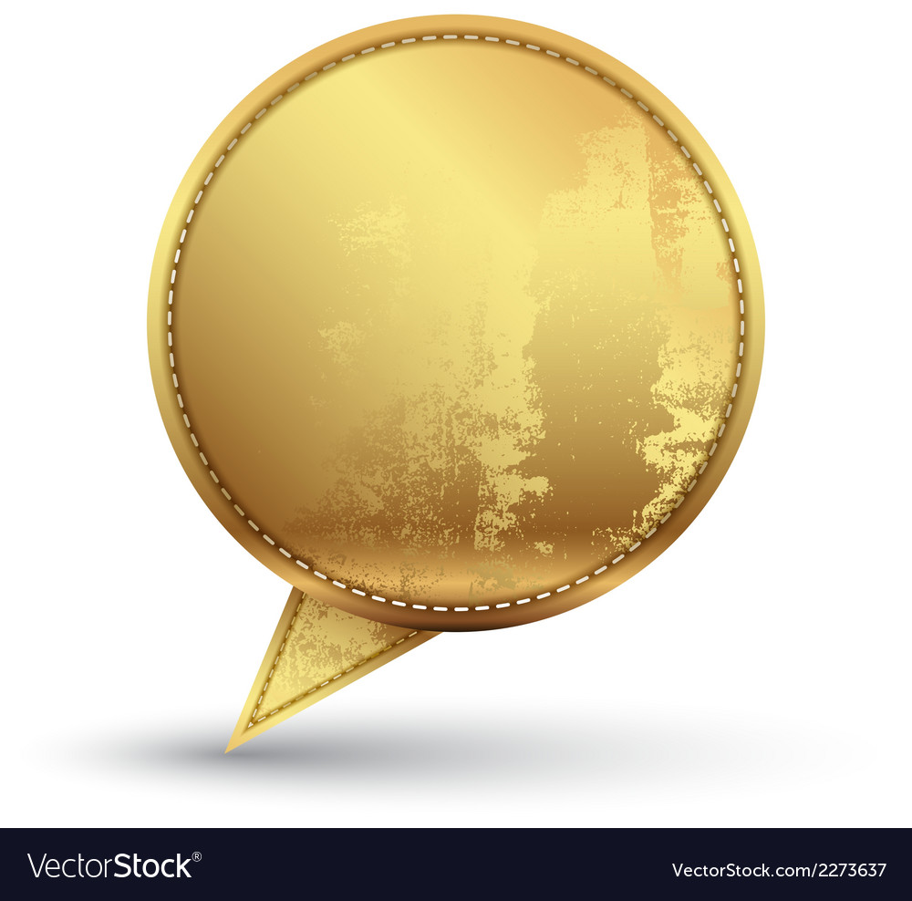 Gold speech circle with texture embroidery vector | Price: 1 Credit (USD $1)