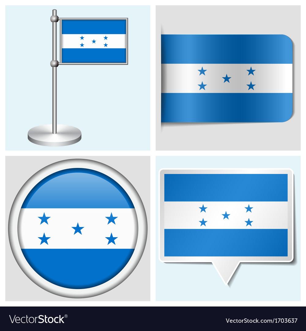 Honduras flag - sticker button label flagstaff vector | Price: 1 Credit (USD $1)