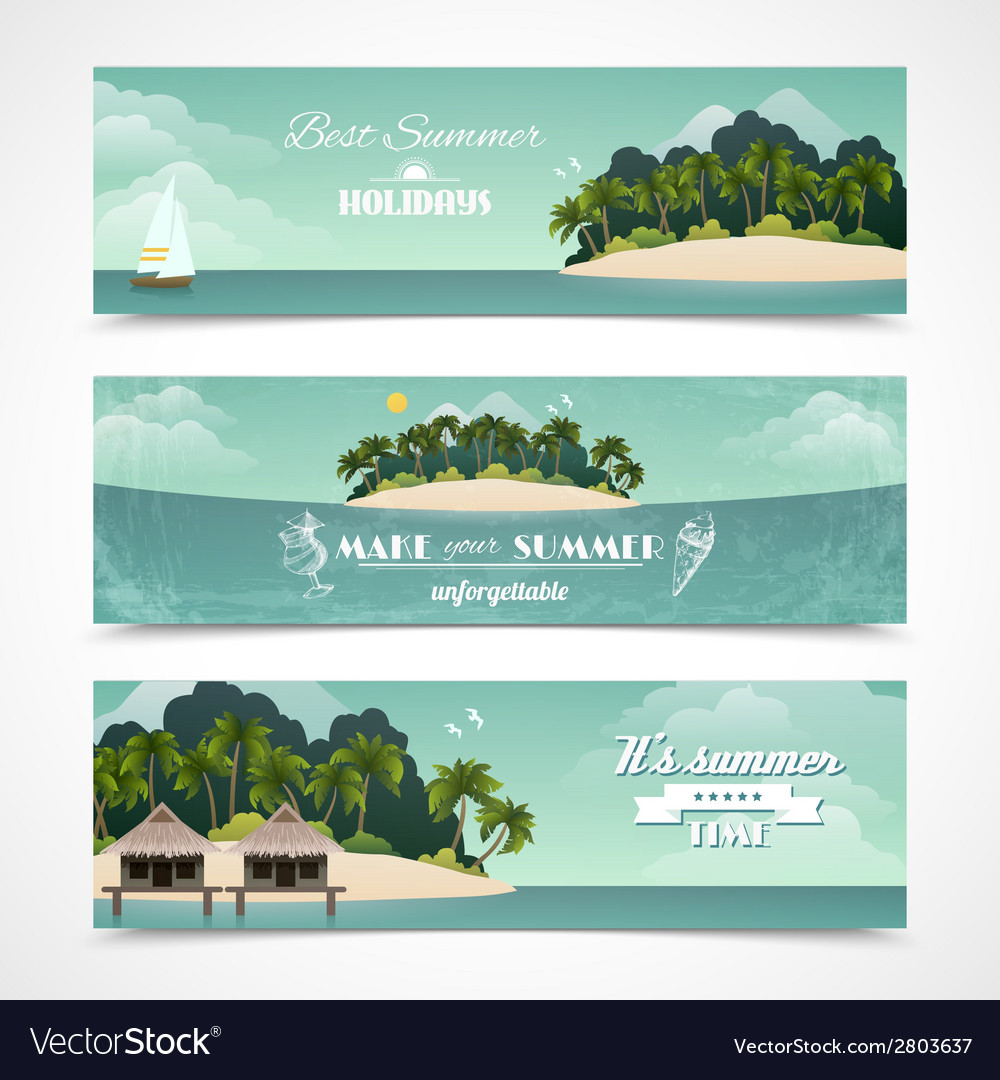 Island horizontal banners vector | Price: 1 Credit (USD $1)