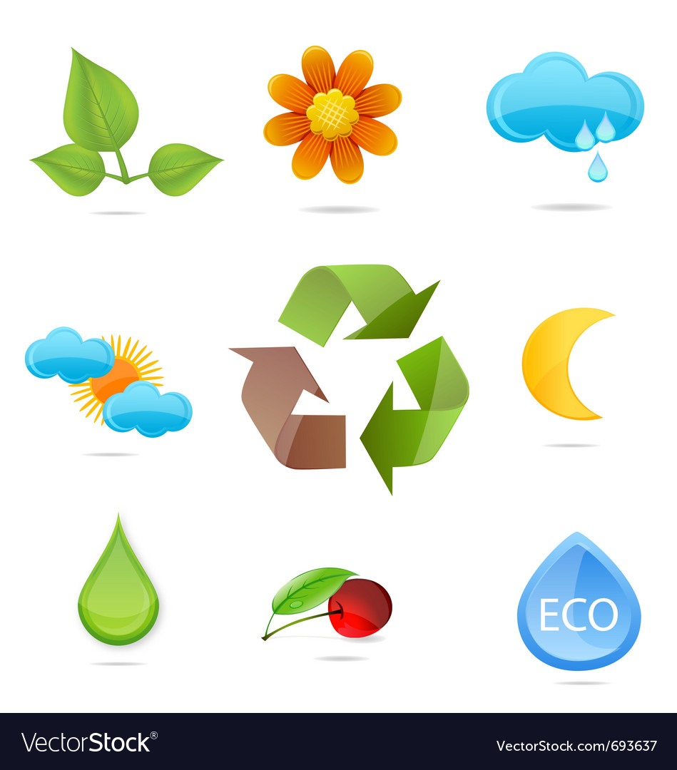Nature green symbols set vector | Price: 1 Credit (USD $1)