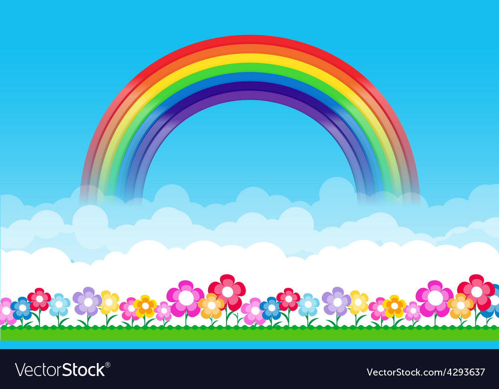 Rainbow on nature background with green grass and vector | Price: 1 Credit (USD $1)