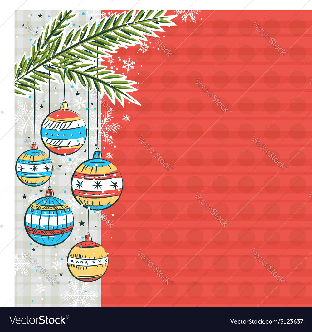 Red background with color christmas balls vector | Price: 1 Credit (USD $1)