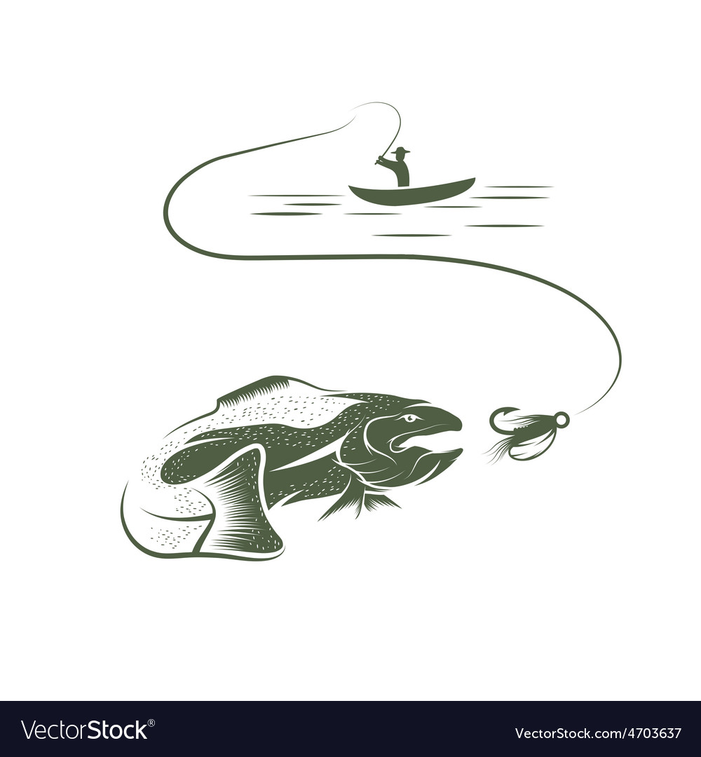 Trout and lure design template vector | Price: 1 Credit (USD $1)