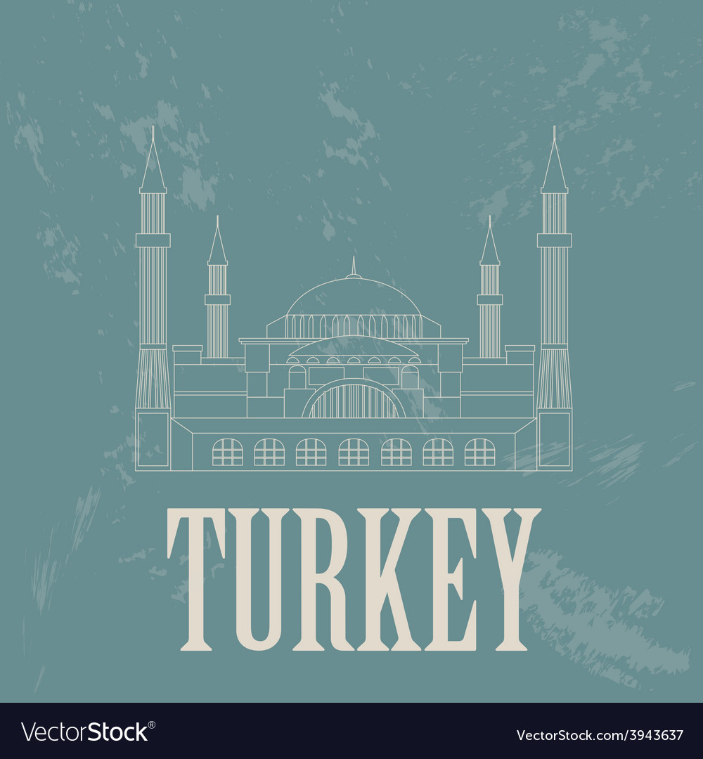 Turkey landmarks retro styled image vector | Price: 1 Credit (USD $1)