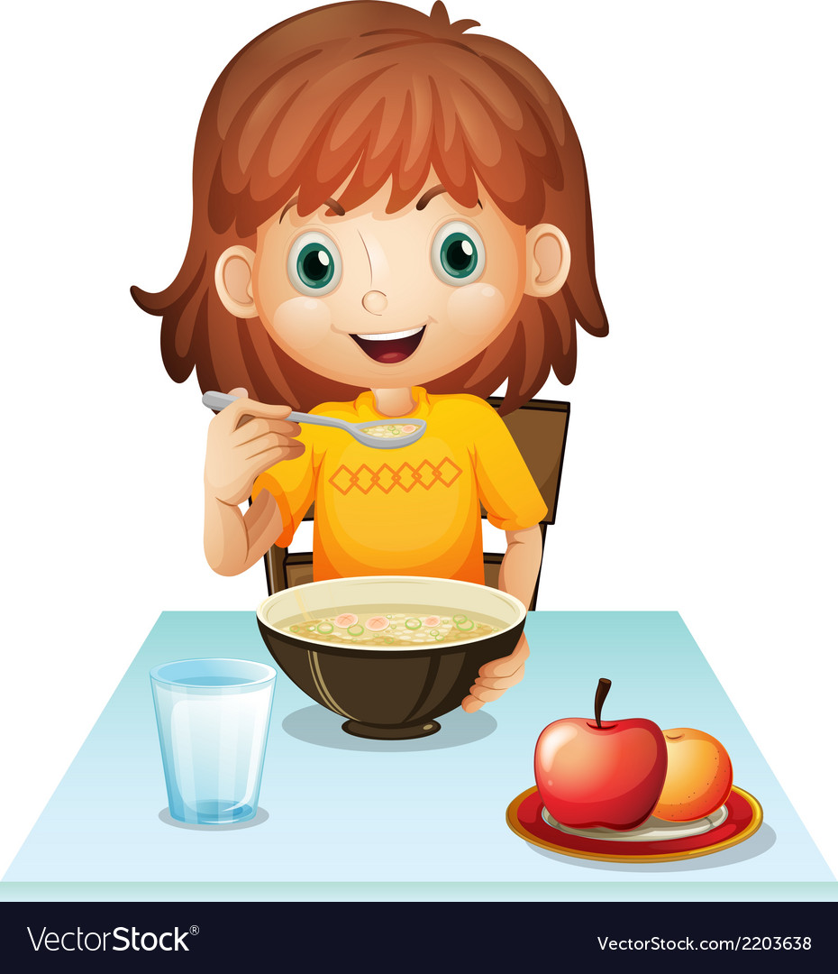 A little girl eating her breakfast vector | Price: 1 Credit (USD $1)