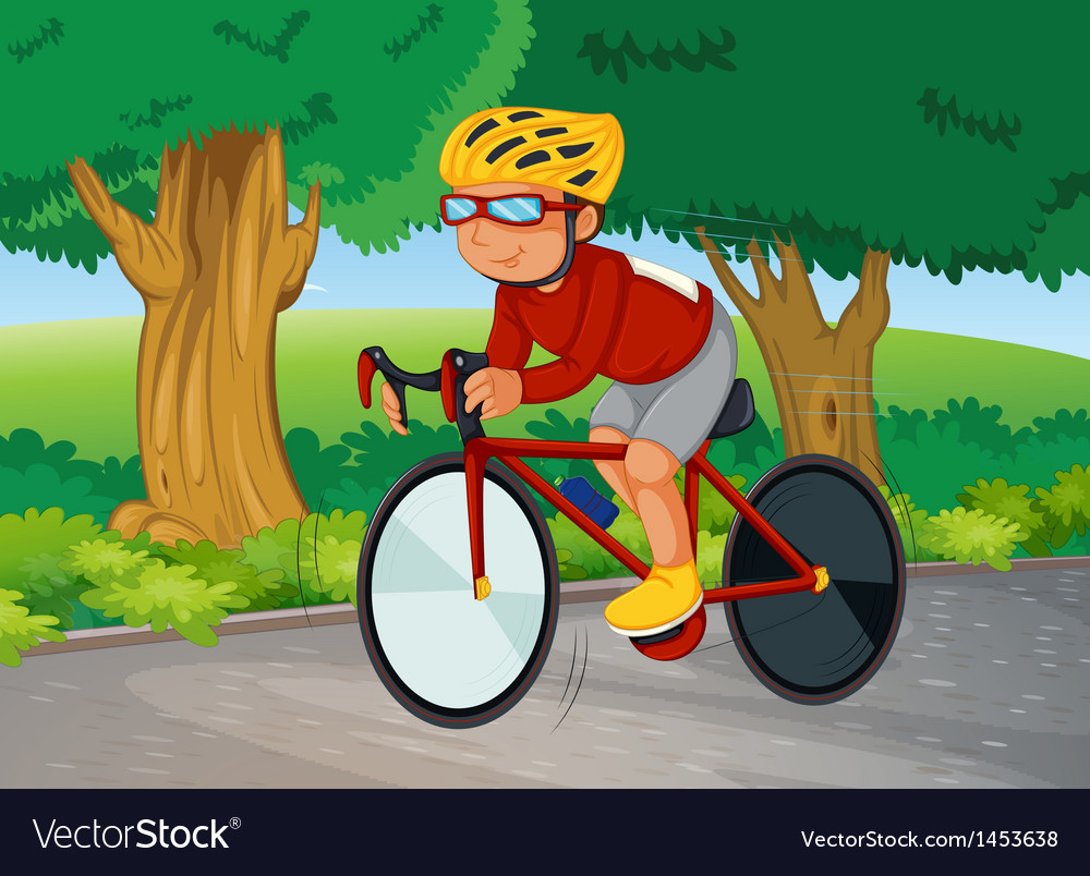 A young man biking vector | Price: 1 Credit (USD $1)