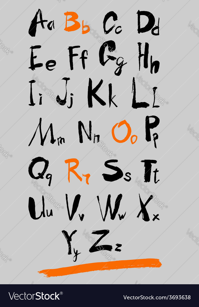 Alphabet and numbers hand drawn in vector | Price: 1 Credit (USD $1)