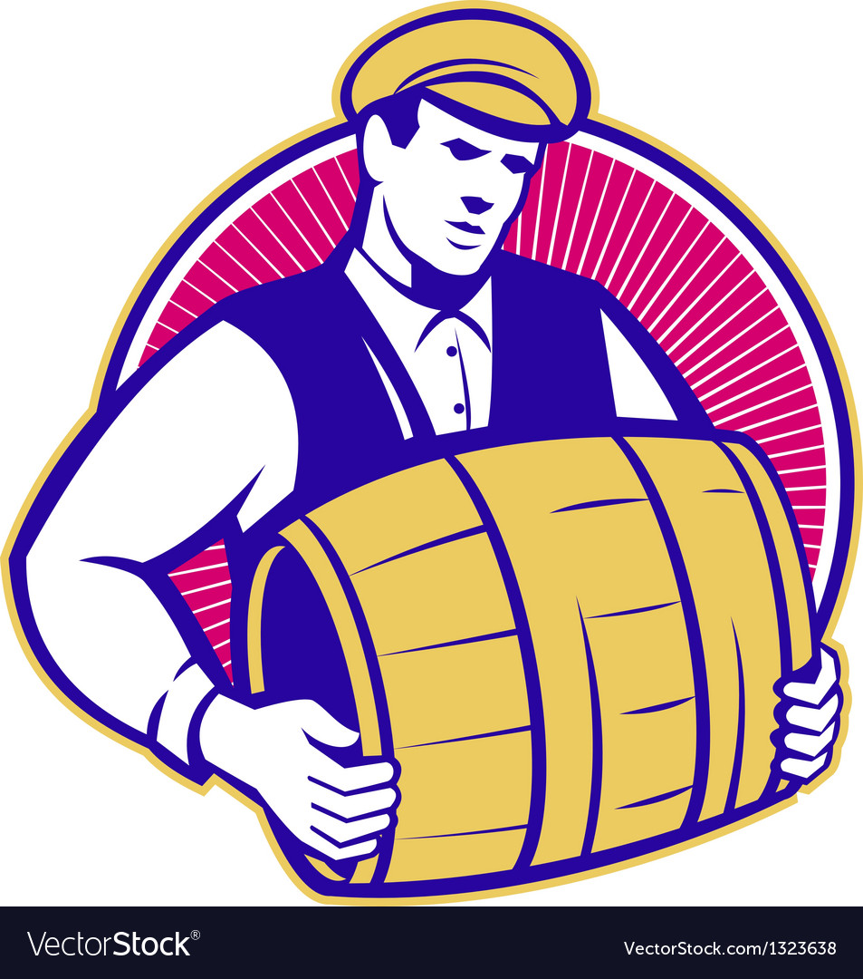Bartender carrying beer keg retro vector | Price: 1 Credit (USD $1)