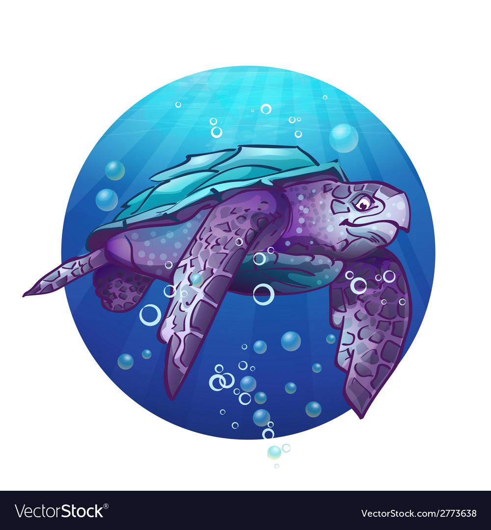 Cartoon image of a sea turtle vector | Price: 1 Credit (USD $1)