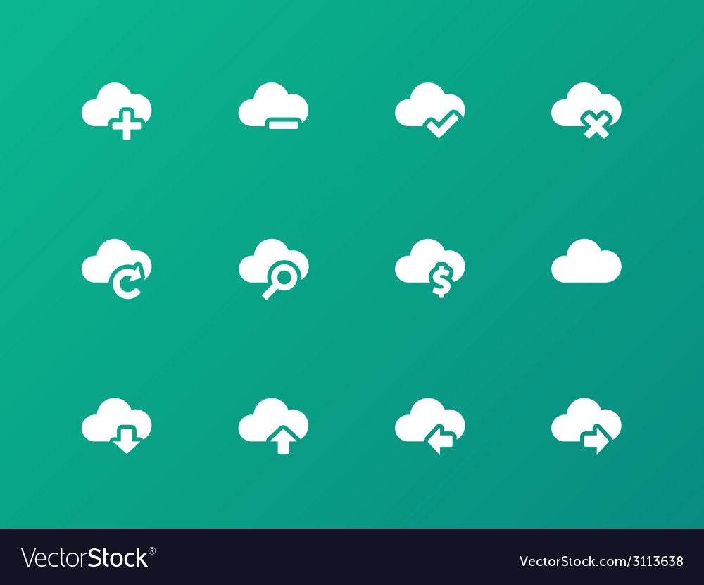 Cloud icons on green background vector | Price: 1 Credit (USD $1)