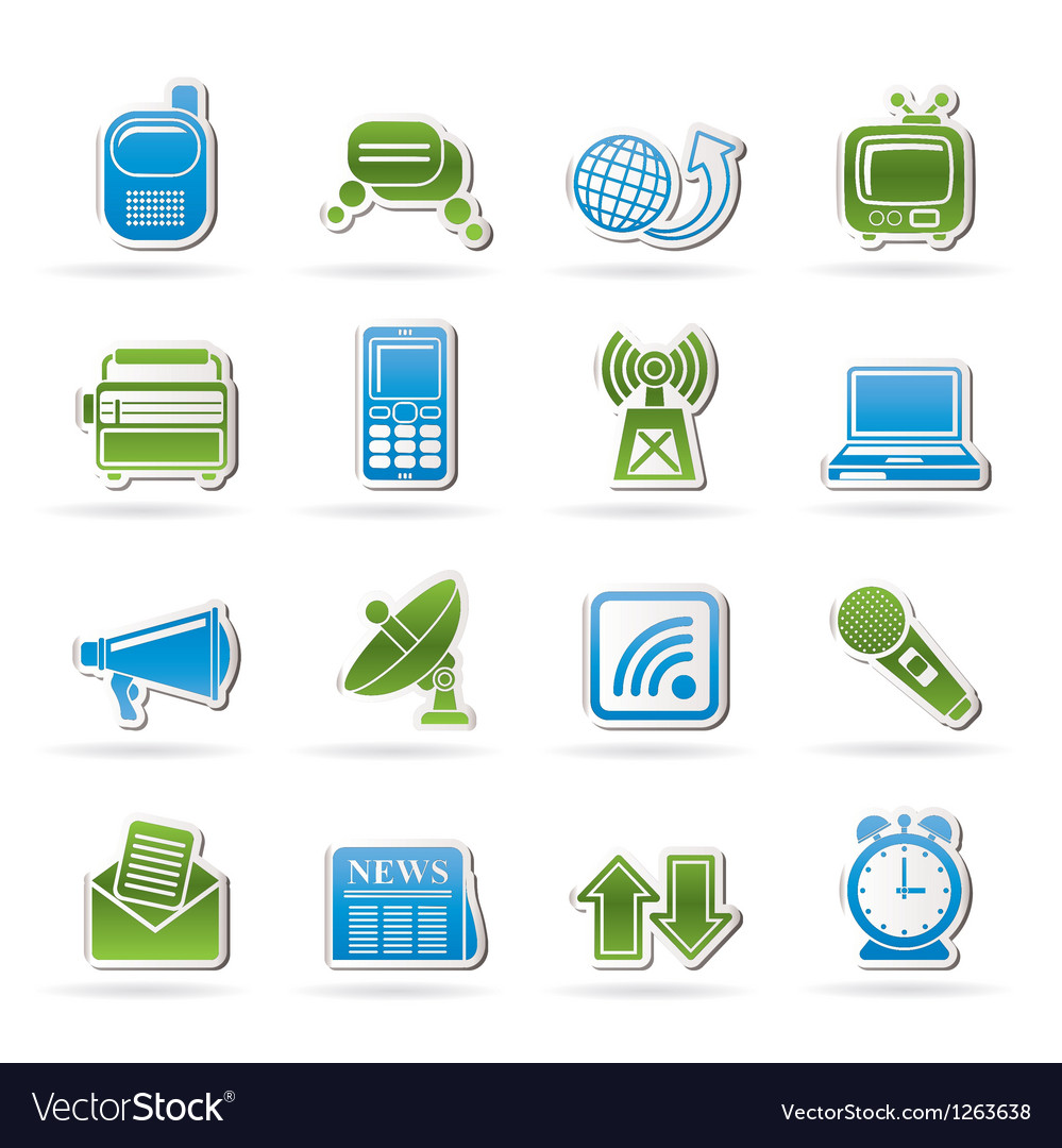 Communication and connection icons vector | Price: 1 Credit (USD $1)
