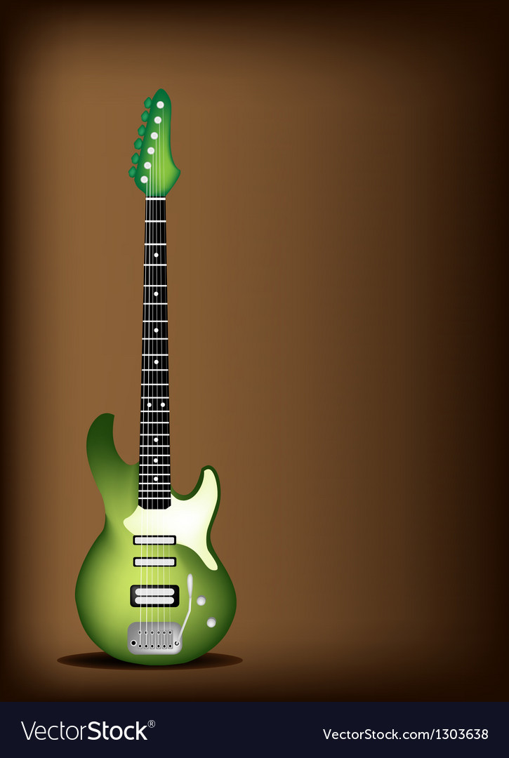 Green electric guitar on dark brown background vector | Price: 1 Credit (USD $1)
