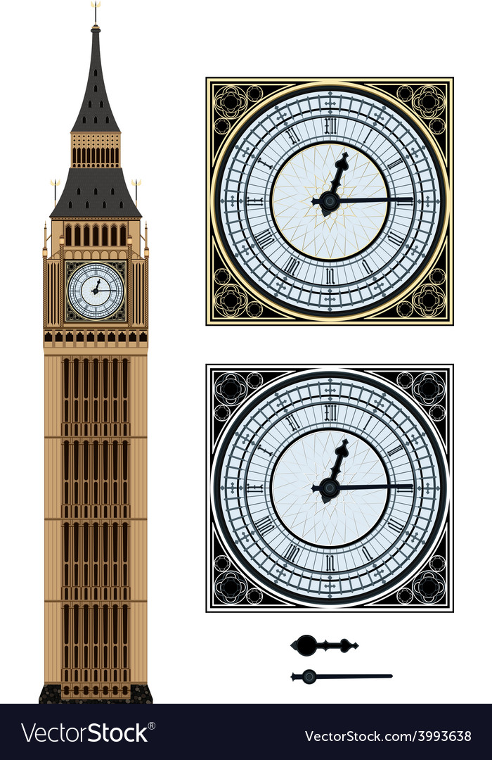 Landmark big ben and the clock vector | Price: 1 Credit (USD $1)