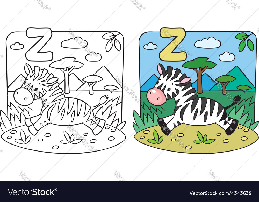 Little zebra coloring book alphabet z vector | Price: 1 Credit (USD $1)