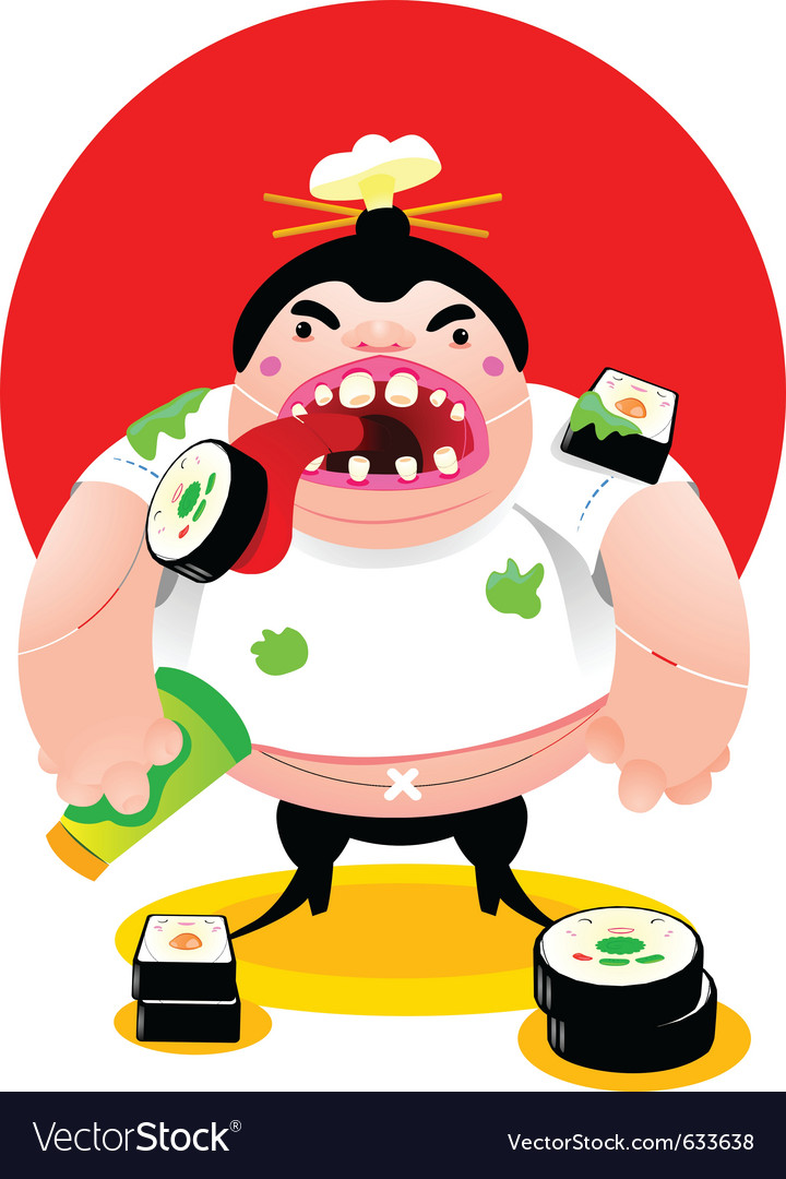 Mad sushi cook vector | Price: 3 Credit (USD $3)