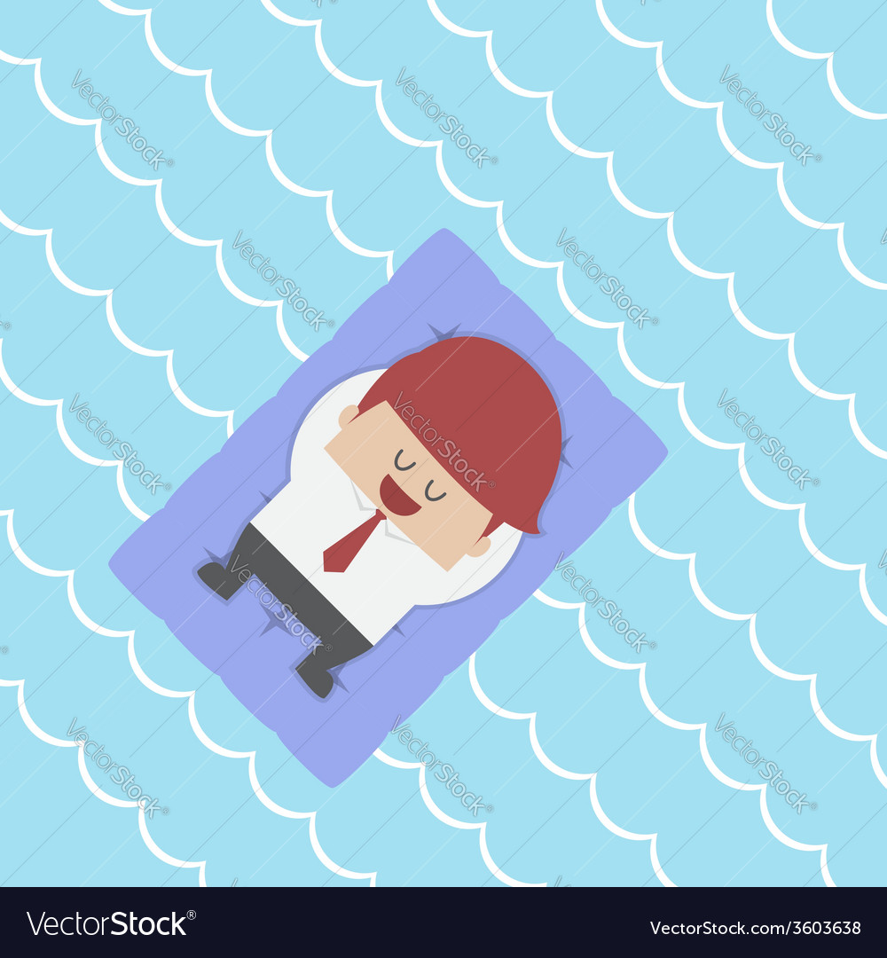 Relaxed businessman floating on pool raft vector | Price: 1 Credit (USD $1)