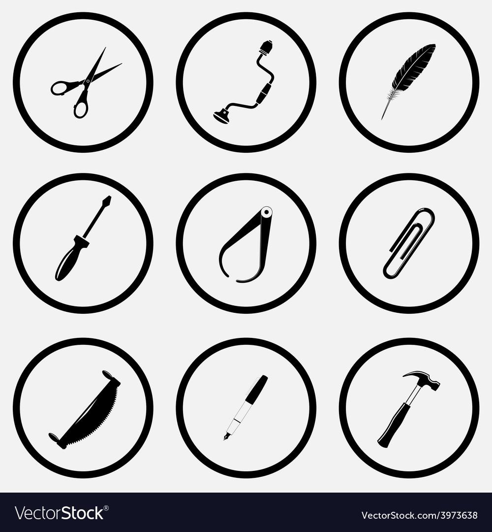 Scissors hand drill feather screwdriver caliper vector | Price: 1 Credit (USD $1)