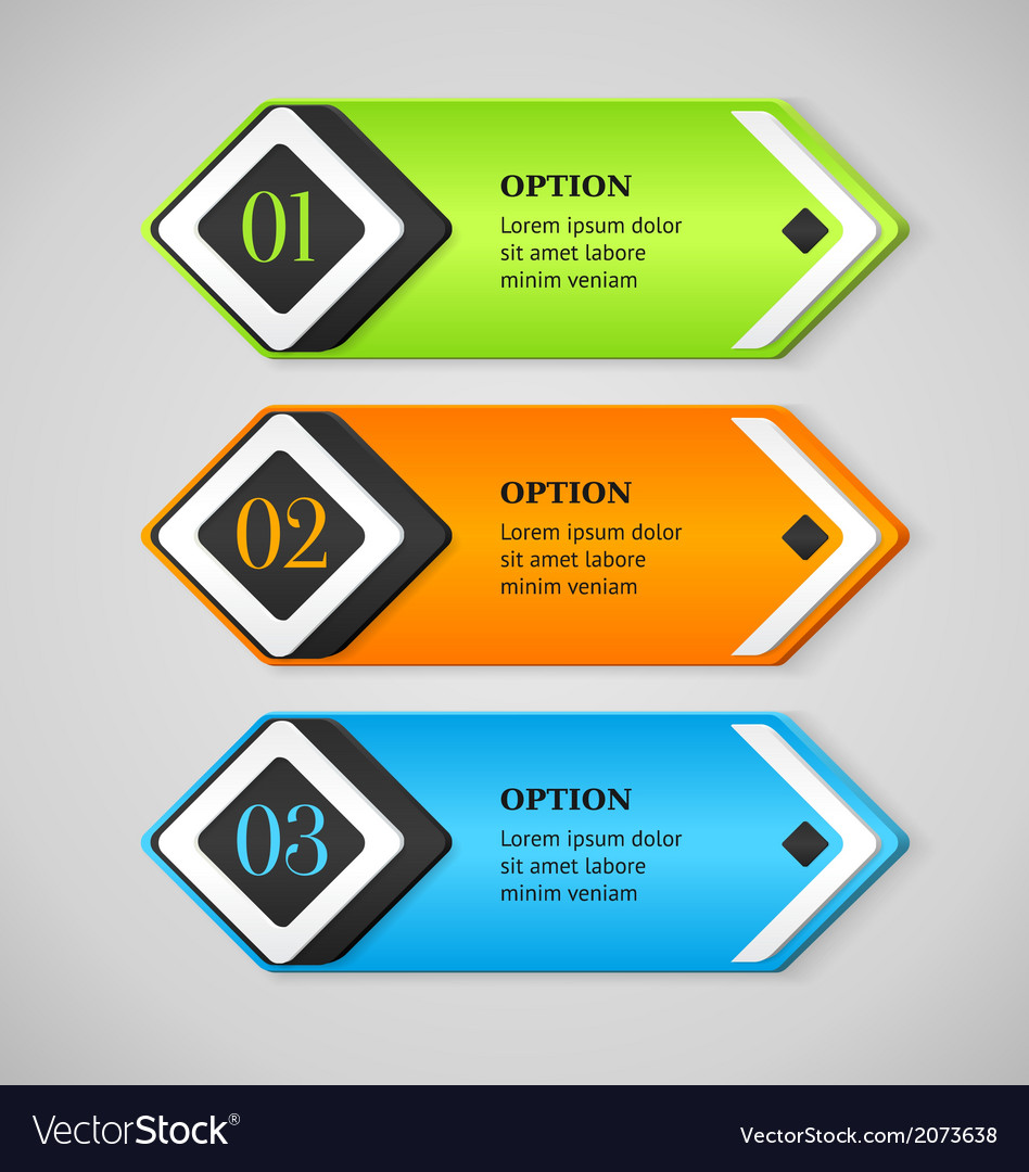 Shine colorful options banners or buttons vector | Price: 1 Credit (USD $1)